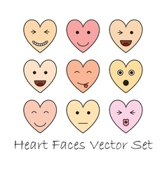 emotional heart faces vector image vector image