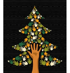 Green Christmas Tree hands vector image