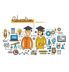 man girl and education vector image