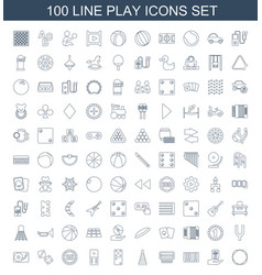 100 play icons vector