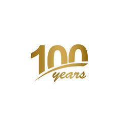 100 years anniversary elegant gold line vector