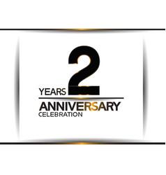 2 years anniversary black color simple design vector