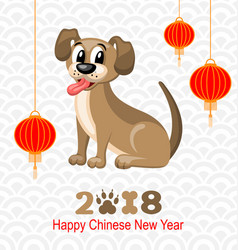 2018 chinese new year of dog lanterns and doggy vector