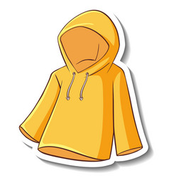 A sticker template with yellow hoodie isolated vector