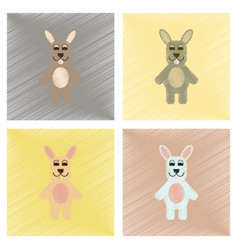 Assembly flat shading style icons rabbit bunny vector