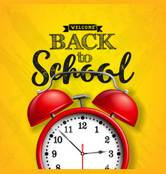 Back to school design with red alarm clock and vector