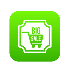 big sale sticker icon digital green vector image