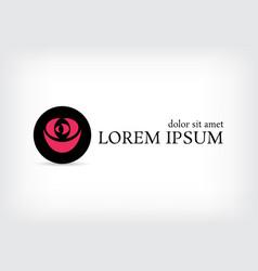 black circle pink rose curve logo design template vector image