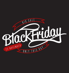 black friday big sale lettering logo sign vector image