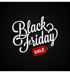 black friday sign with sale tag on dark background vector image