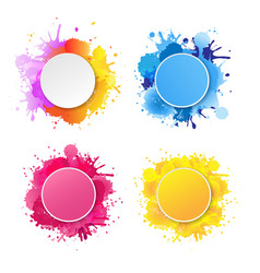 bright banner with colorful blobs vector image