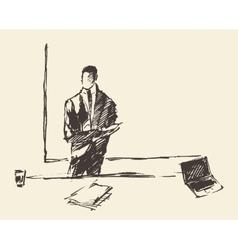 Businessman presenting concept sketch vector image