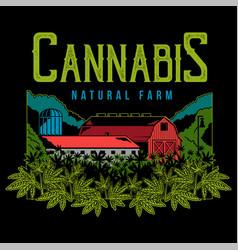 Cannabis natural farm print vector