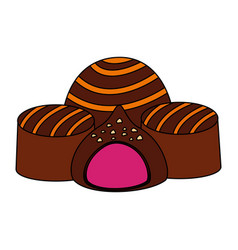 Caramel chocolate candy sweet stuffed vector