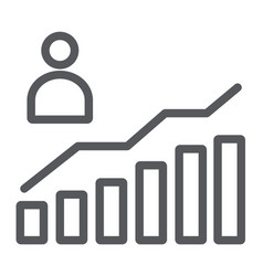 career growth line icon increase and diagram vector image