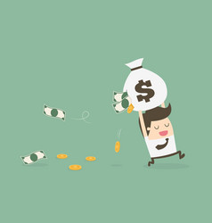Careless businessman carrying a torn money bag vector