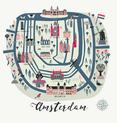 cartoon map amsterdam with legend icons vector image