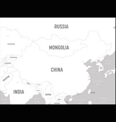 China map - white lands and grey water high vector