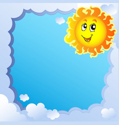 cloudy frame with sun 2 vector image
