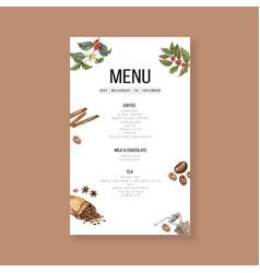 Coffee house menu american cappuccino espresso vector