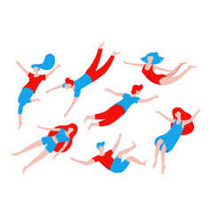 Collection of people flying dreaming concept vector