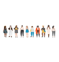 Collection of plus size women dressed in stylish vector
