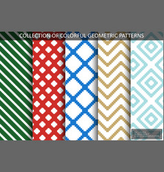 collection seamless textile patterns - colorful vector image