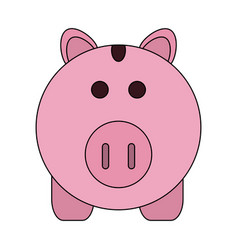 Color image cartoon pink piggy bank with dollar vector