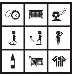 Concept flat icons in black and white football vector