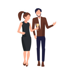 couple drinking and talking vector image