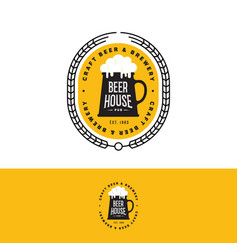 craft beer logo brewery emblem yellow vector image