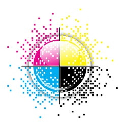 Creative CMYK pixelated design vector