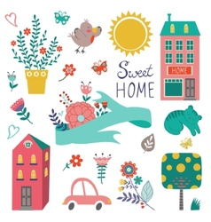 Cute home sweet home collection vector