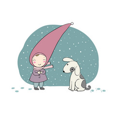 cute little gnome and the dog vector image