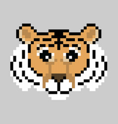cute pixel tiger isolated vector image