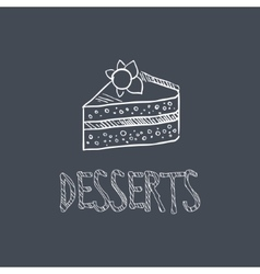 Dessert Sketch Style Chalk On Blackboard Menu Item vector