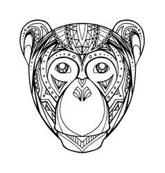 Doodle monkey and boho pattern for your creativity vector