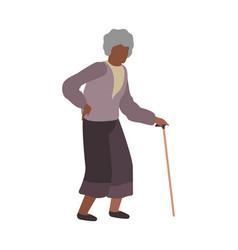 elderly woman walking grandmother character vector image