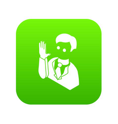 Election candidate oath icon green vector