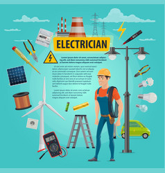 electircian profession man poster vector image
