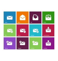 Email icons on color background vector