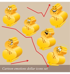 emotions dollar icon set vector image
