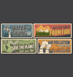 Environment banners ecology and nature saving vector