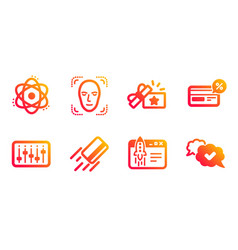 Face detection dj controller and cashback icons vector