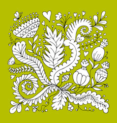 floral ornament sketch for your design vector image