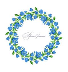 Floral round frame vector