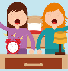 girls waking up with bed clock lamp in room vector image