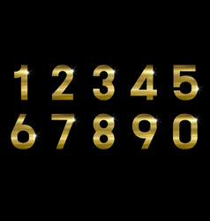 Gold metal number on black background vector