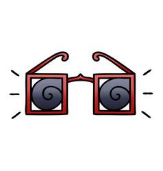 Gradient shaded cartoon hypnotic glasses vector
