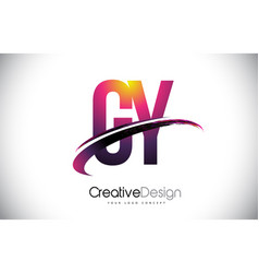 Gy g y purple letter logo with swoosh design vector